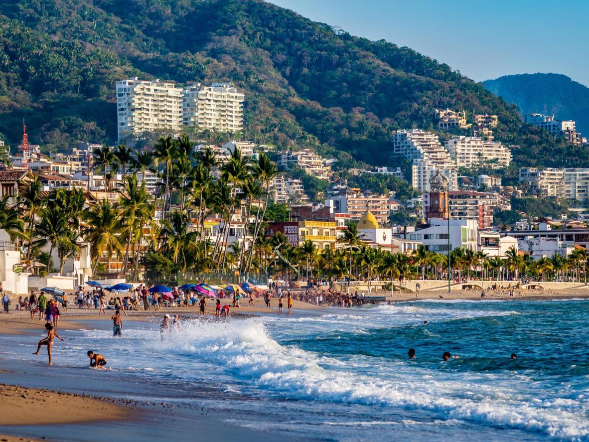 Beach life in Mexico's coastal city, Puerto Vallarta