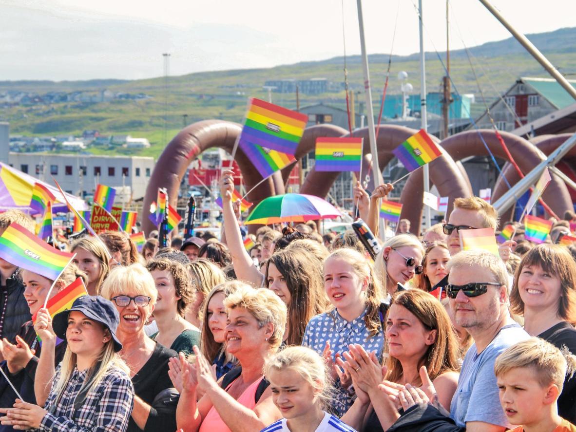 Friendly locals at the Føroyar Pride event