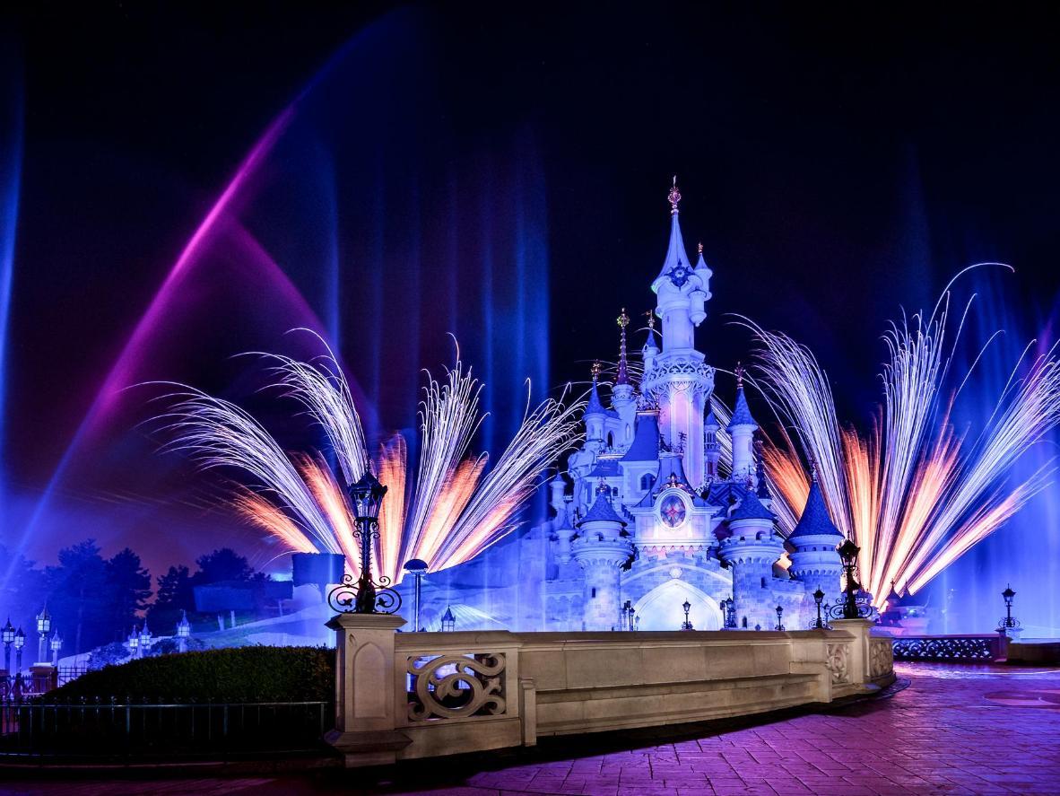 A fireworks display at Disneyland Paris