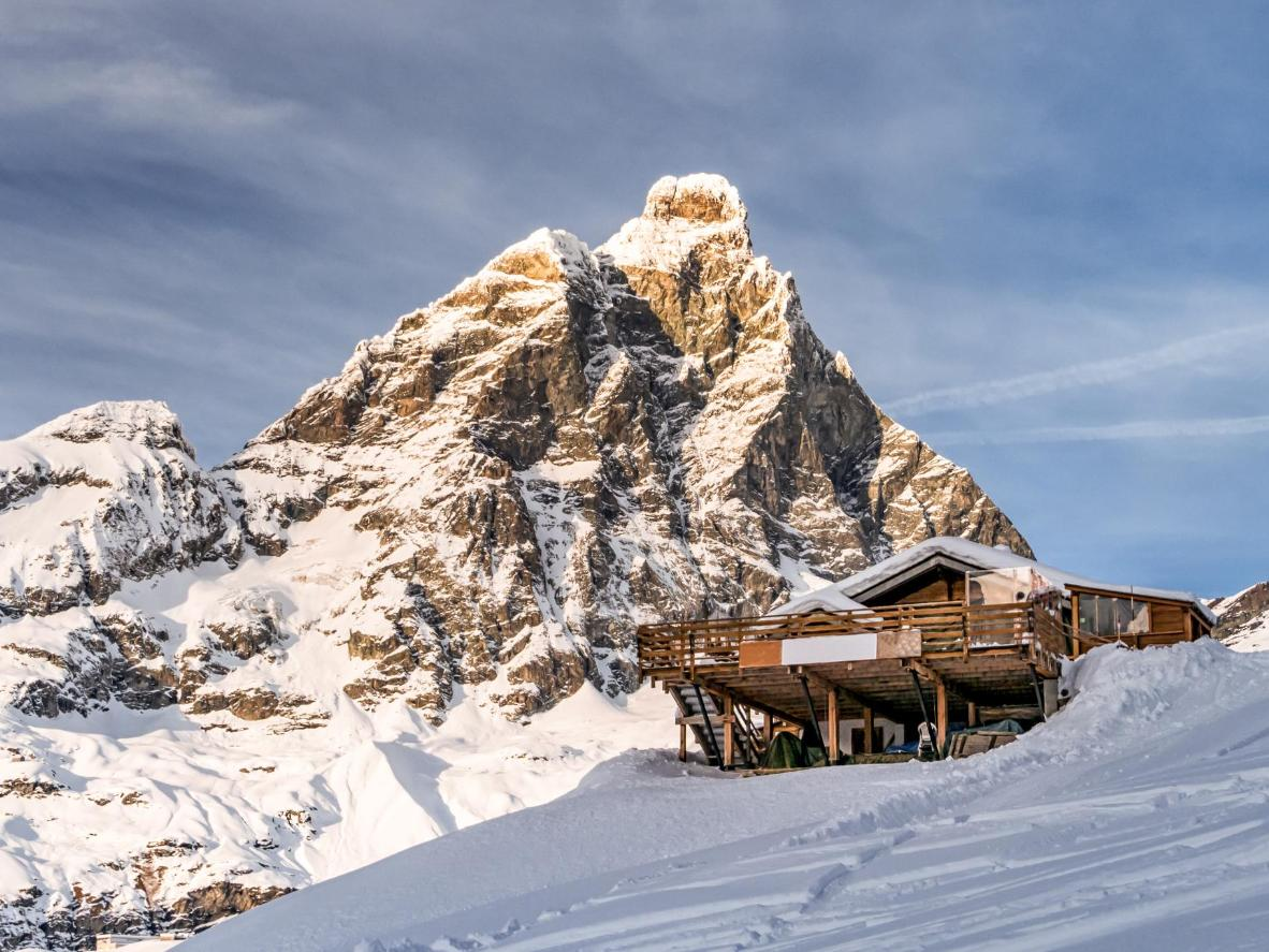 The iconic Matterhorn, next to the ski resort of Breuil-Cervinia