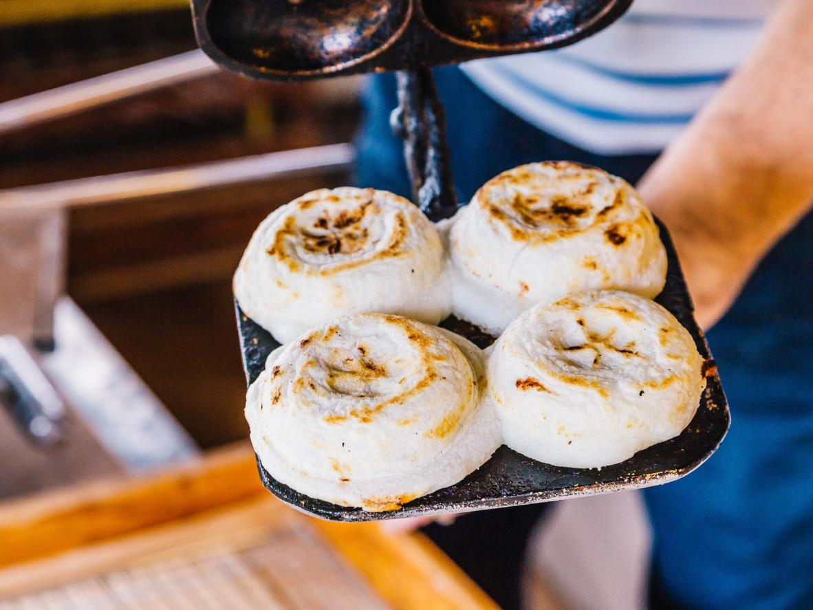 Newly cooked mochi buns in Kyoto
