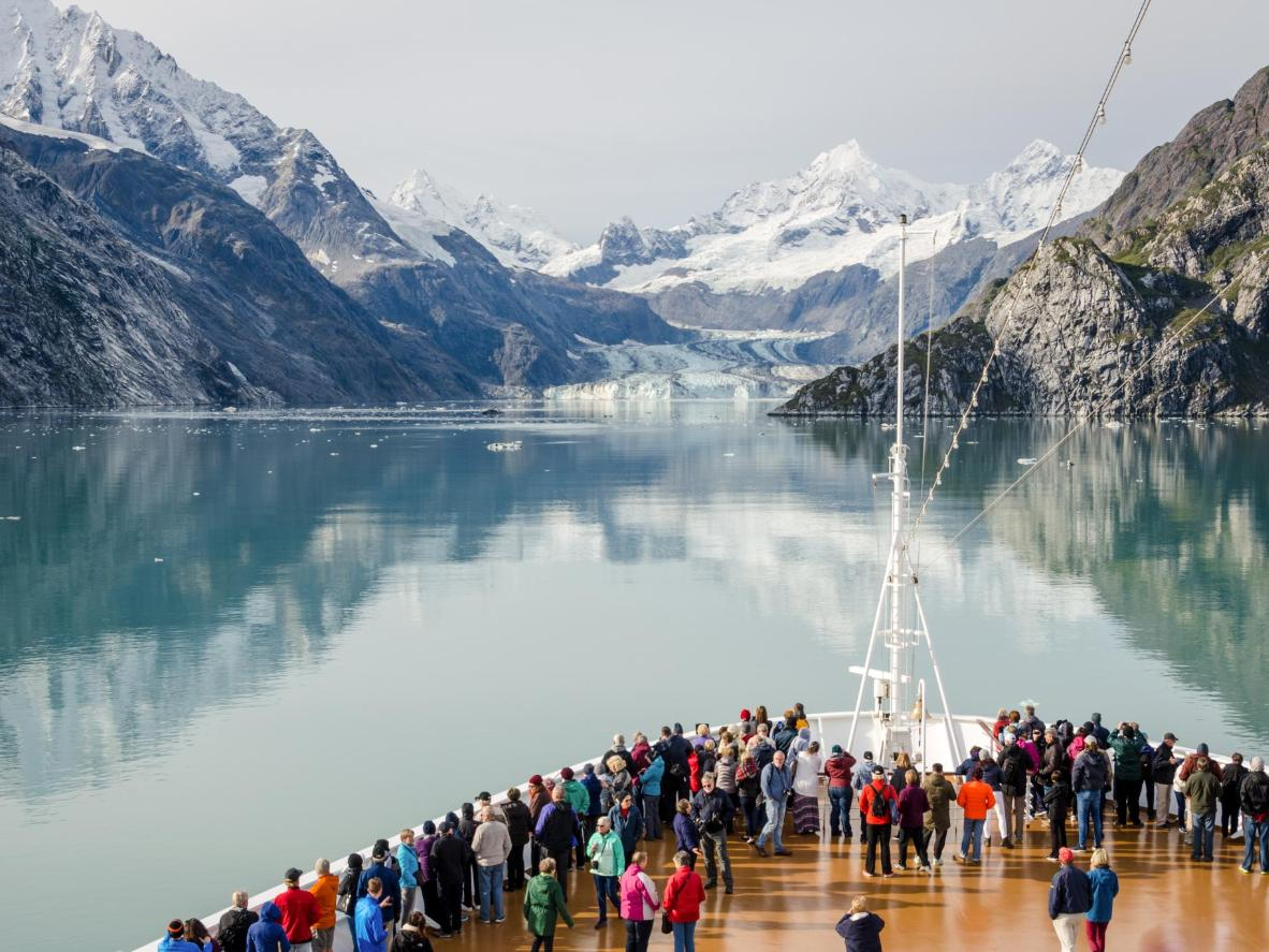 Cruise ship passengers view the glaciers in Glacier Bay National Park