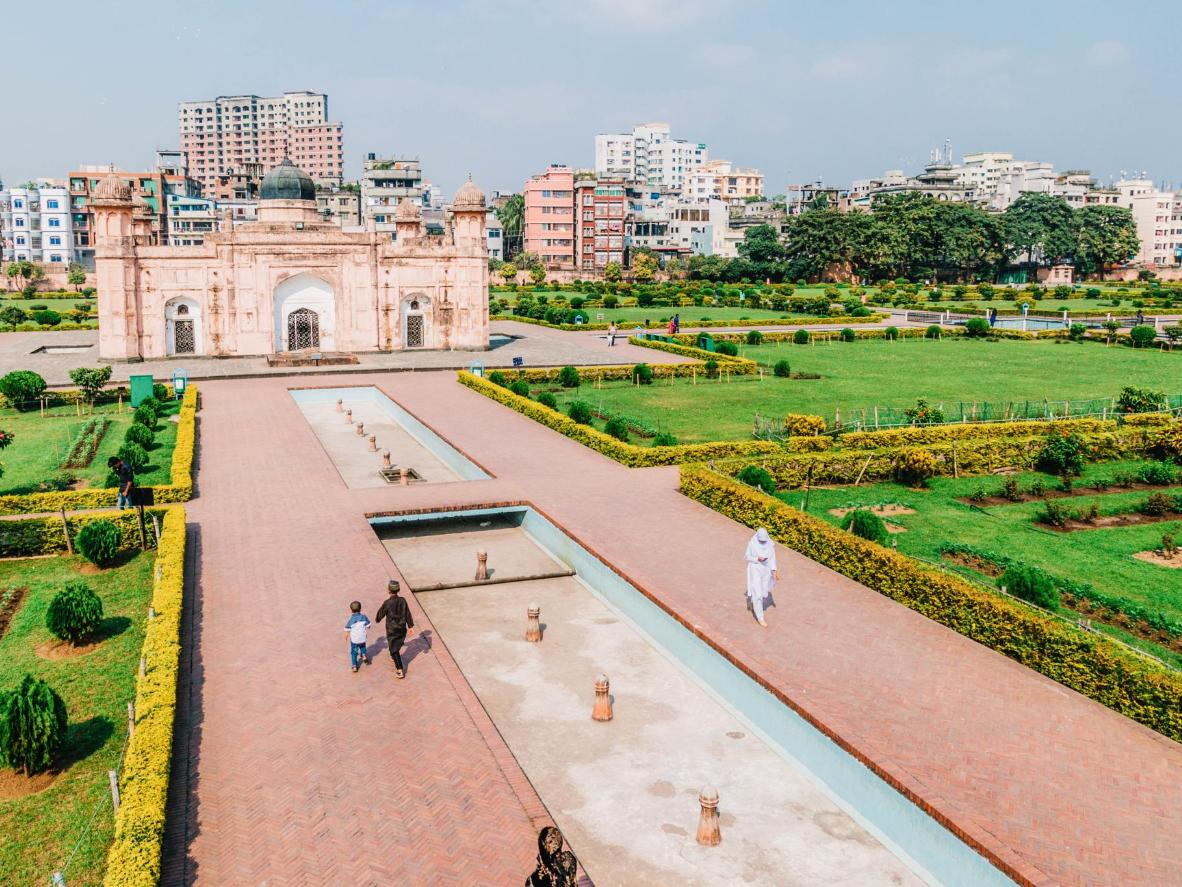 The Mausoleum of Pari Bibi and surrounding garden of Lalbagh Fort in Dhaka