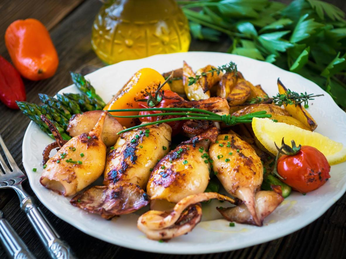 Grilled squid with seasonal vegetables