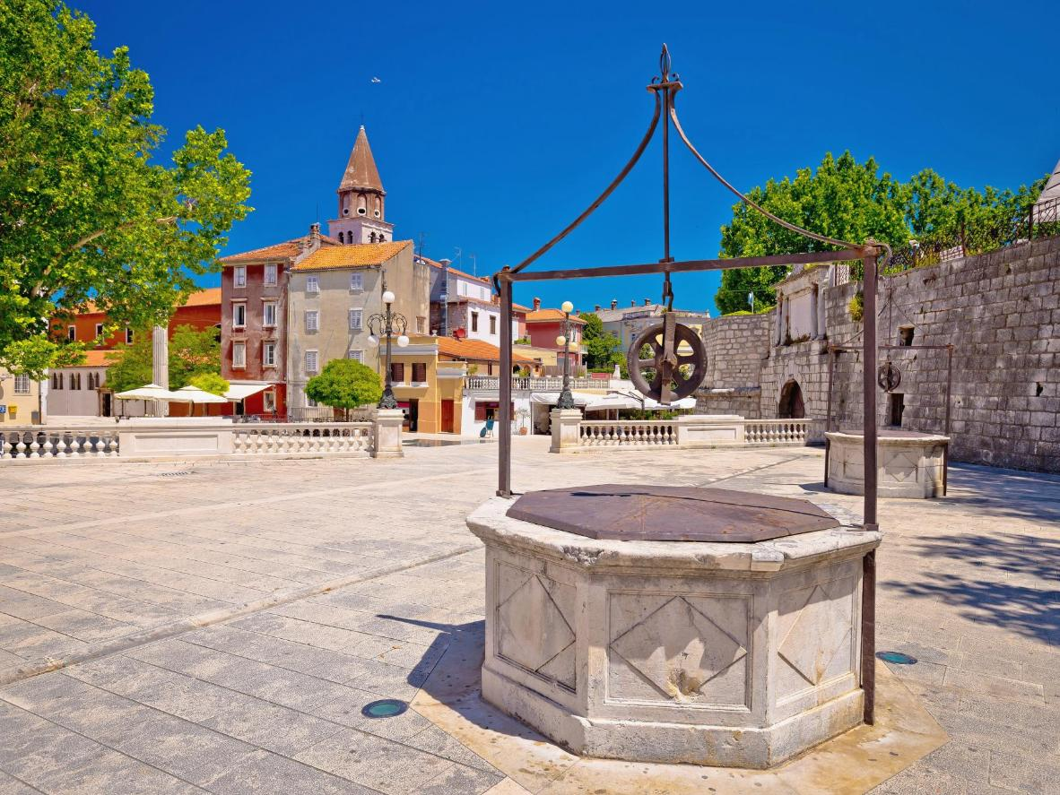 Five wells square in Zadar city centre