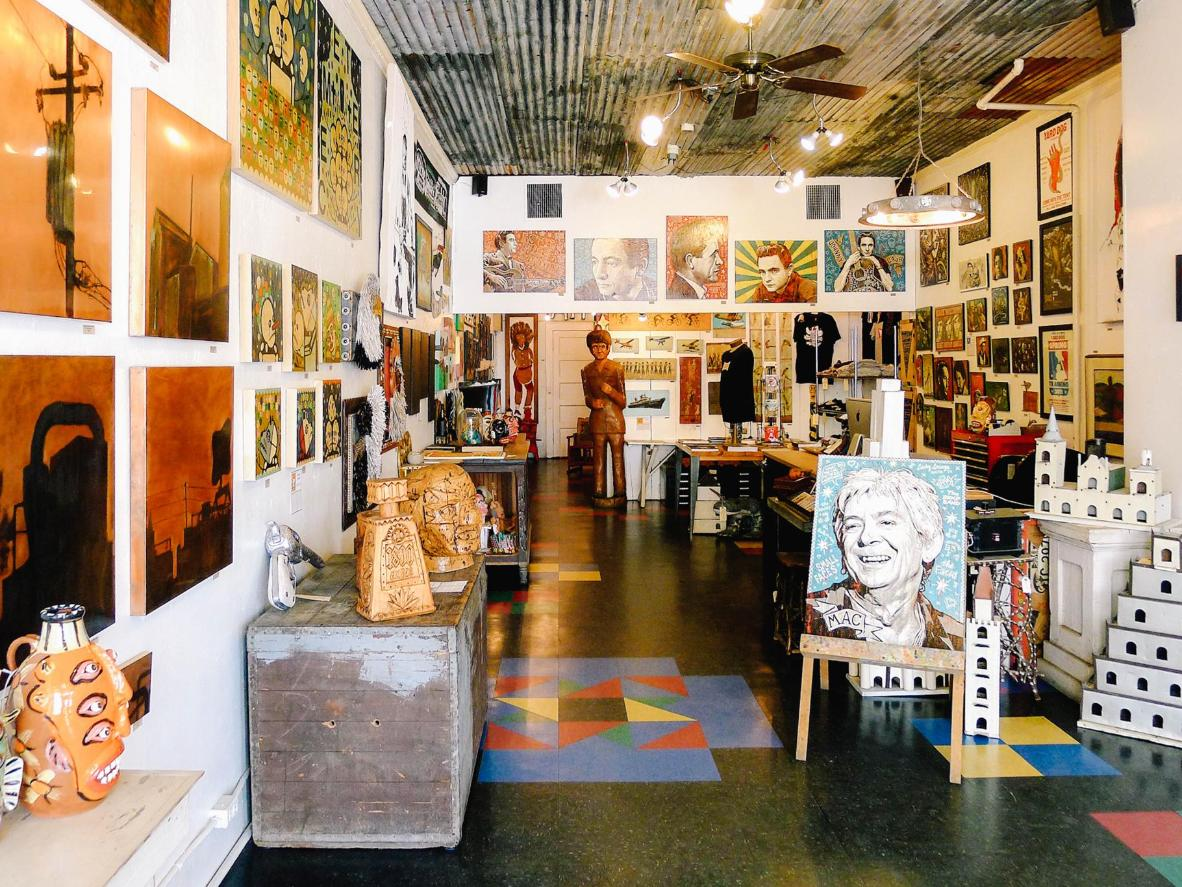 The vibrant walls of the Yard Dog Art Gallery