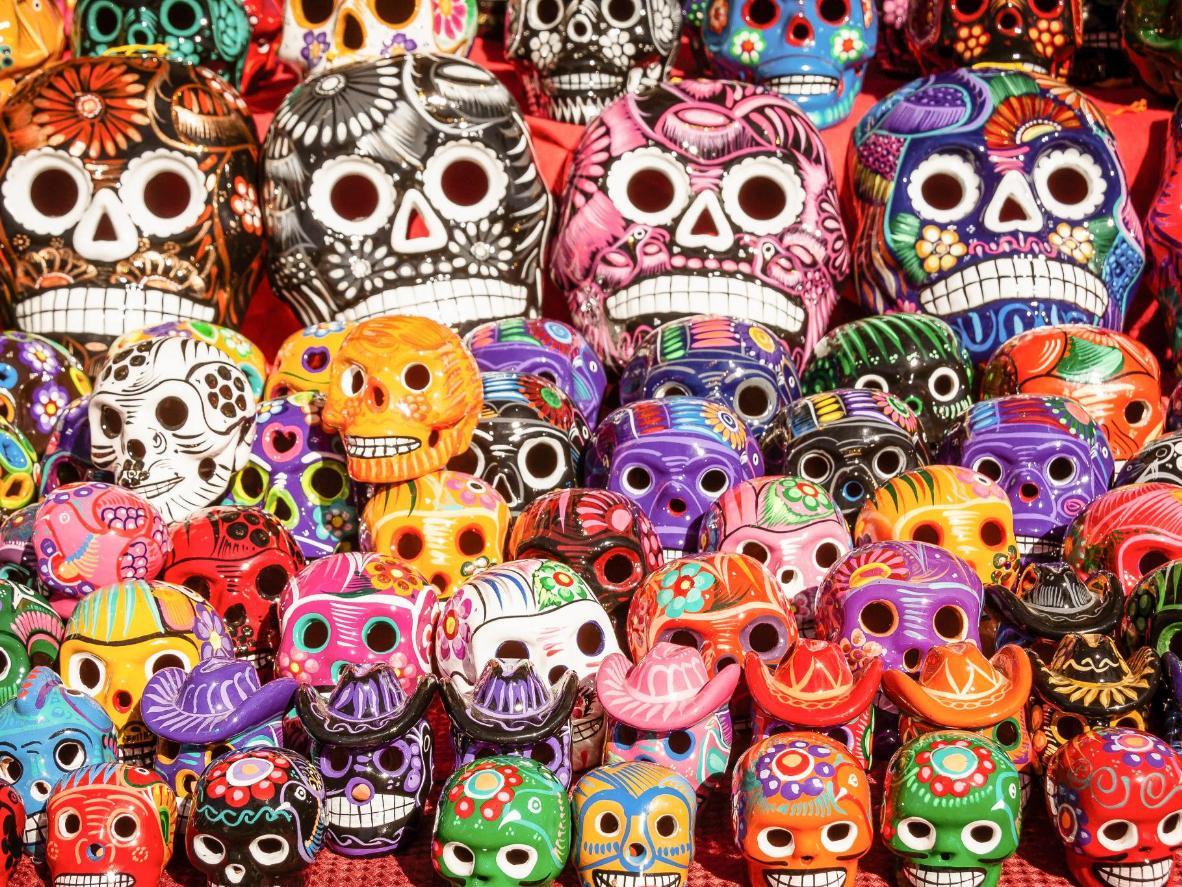 Sugar skulls on display during Dia de los Muertos