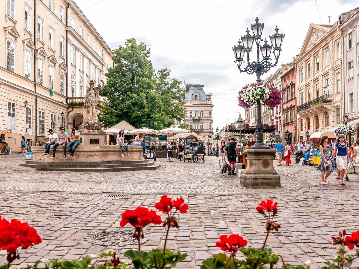 Flowers and cobblestones in Lviv's beautiful Market Square