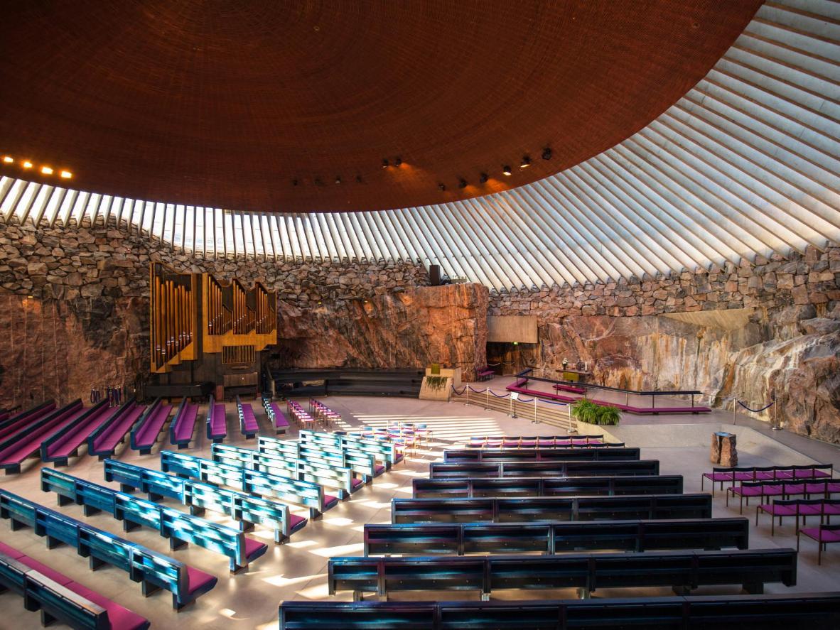 The inside of Temppeliaukio Church in Helsinki