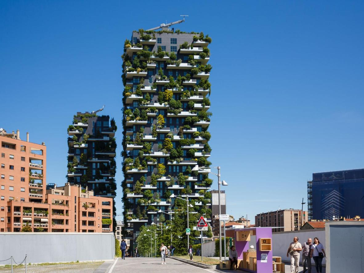 The leafy towers of the Bosco Verticale in Milan
