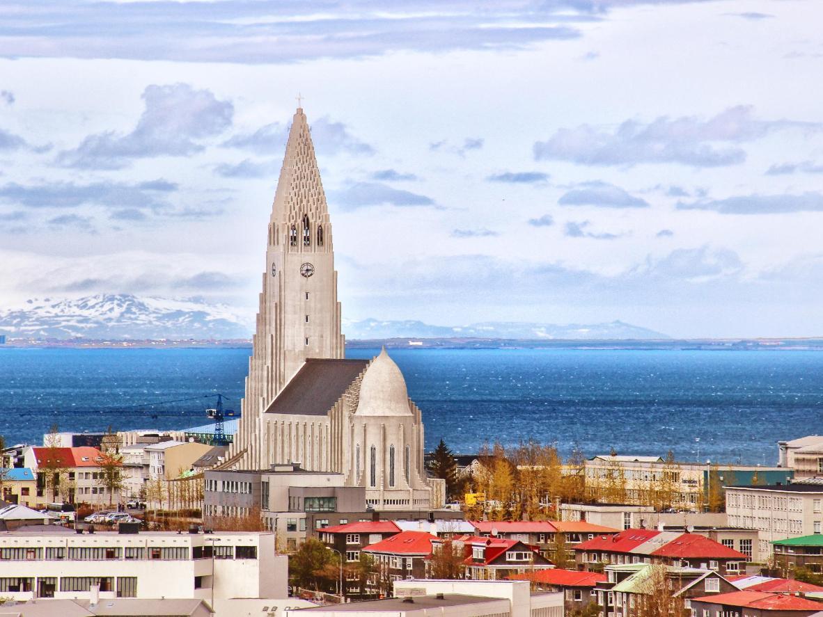The spire of the Hallgrímskirkja in Reykjavik