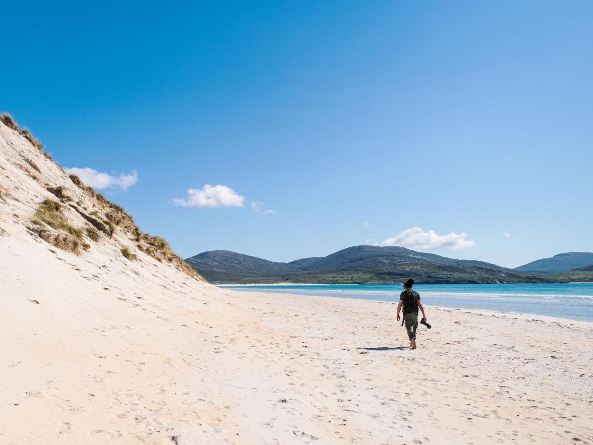 Plage isolée dans les Hébrides extérieures, Luskentyre a un air des Caraïbes