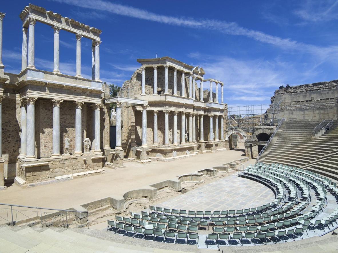 Recentemente riscoperto, il Teatro Romano di Mérida ospita adesso spettacoli teatrali