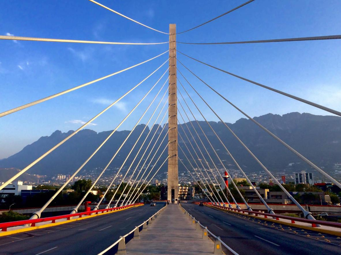 The silver cable bridge, Puente de la Unidad