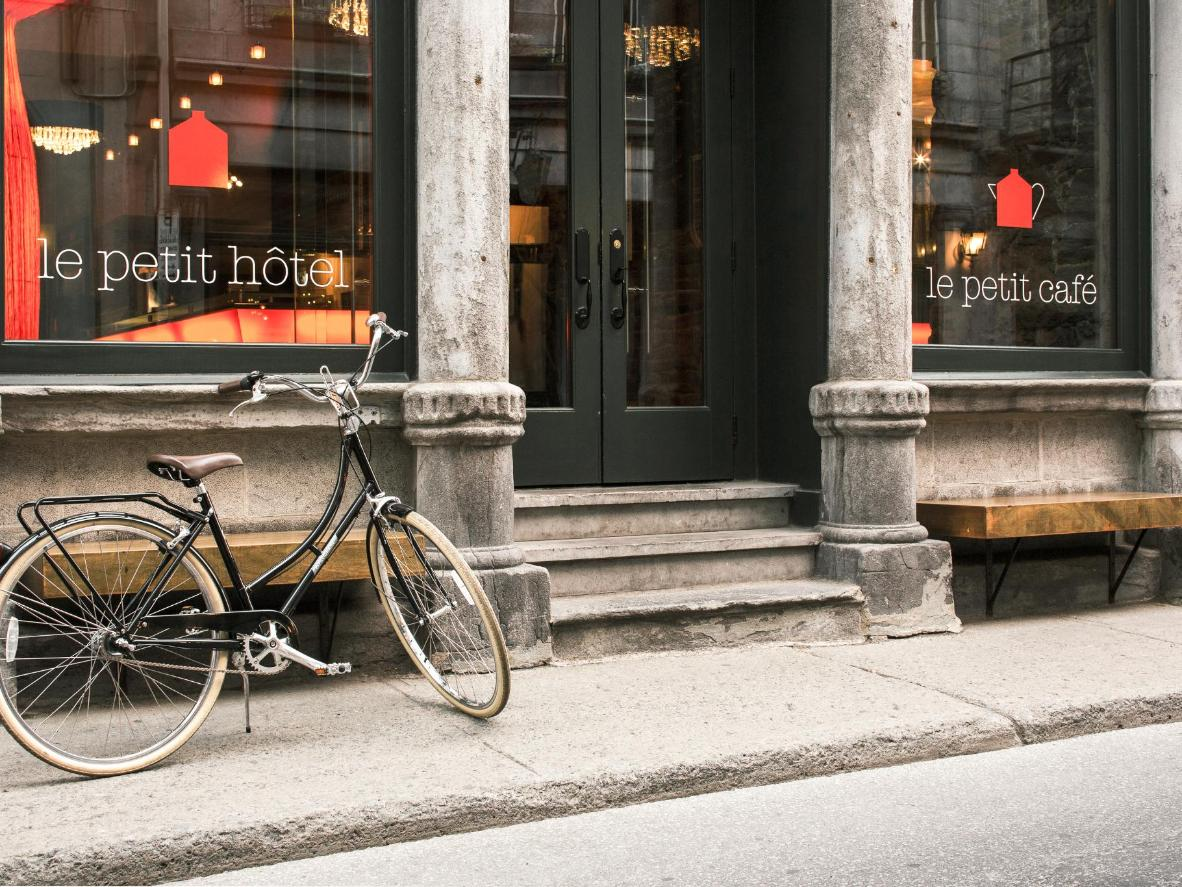 It's all industrial form and homelike finishes at Le Petit Hotel Montreal