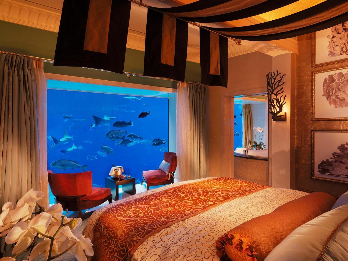 Gehen Sie in den Unterwasser-Suiten Poseidon oder Neptun mit den Fischen zu Bett