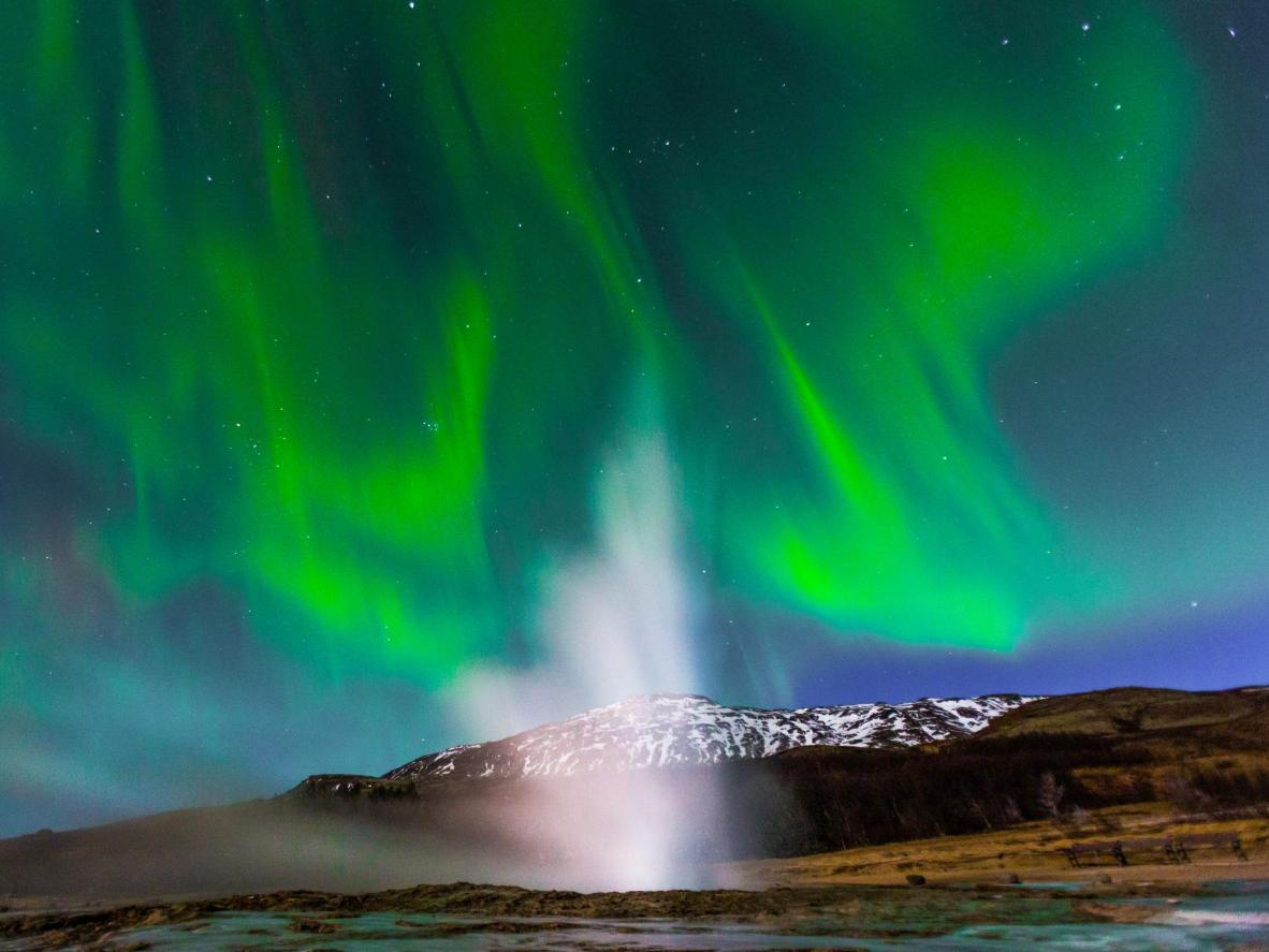 Chase the Northern Lights in Haukadalur, Iceland