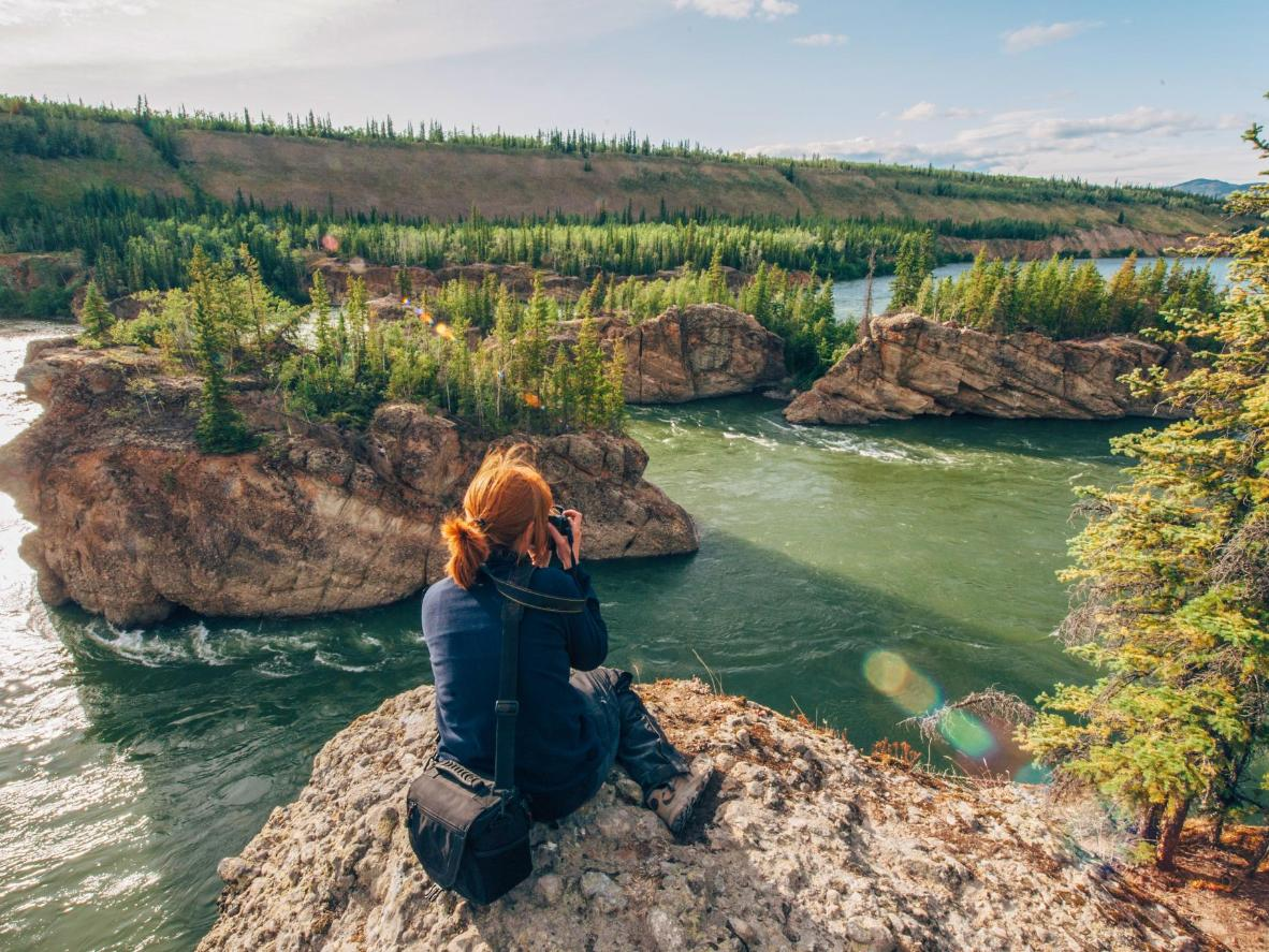 Discover pre-glacial, ancient basalt cliffs and conical lava structures near Whitehorse
