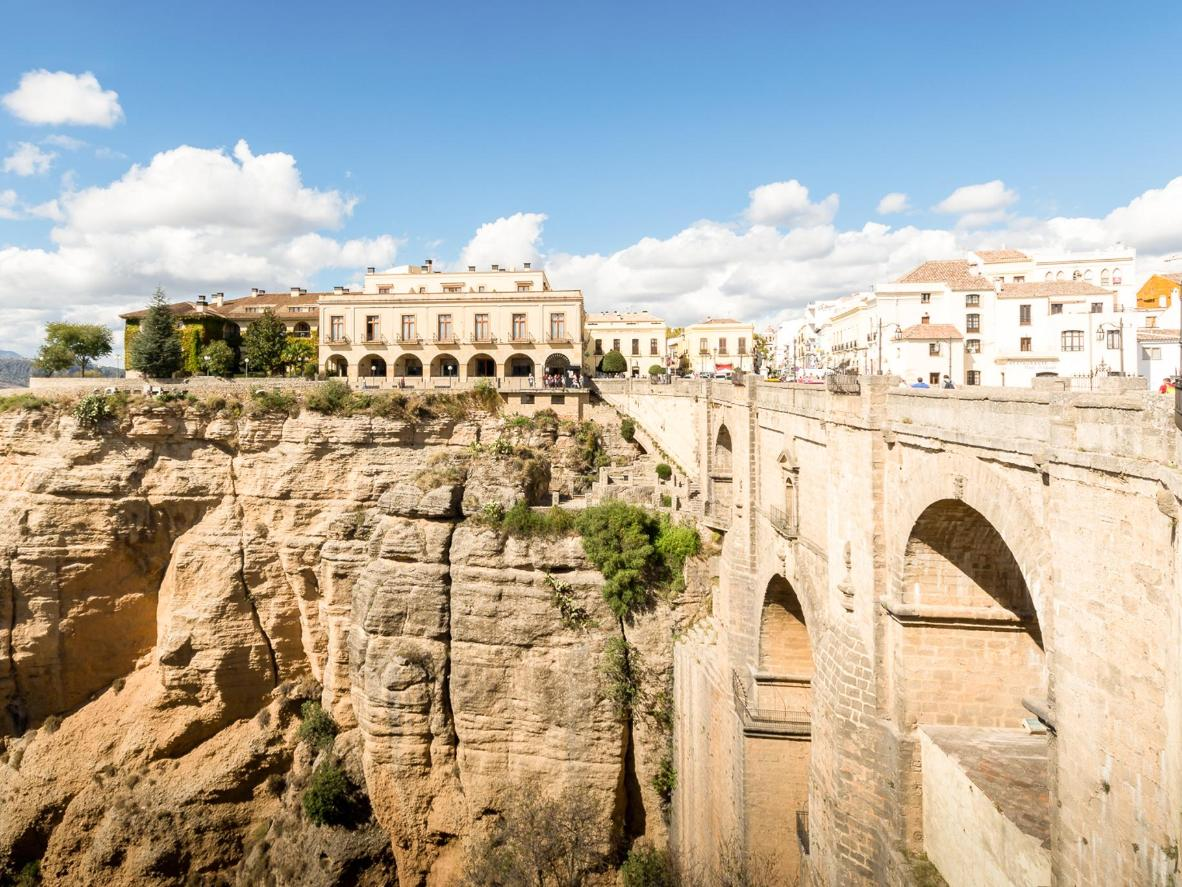 The Puente Nuevo is the largest of the three bridges, built over the Guadalevín River