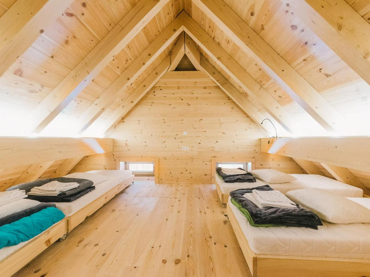 Natural materials are used throughout Hostel Lukna