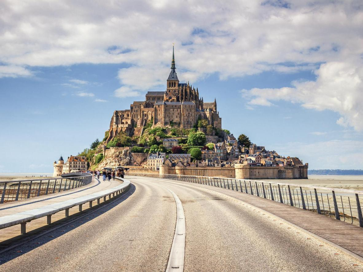 The bridge leading to Le Mont Saint Michel