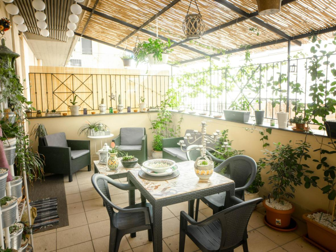 The leafy terrace at Casa Mayka