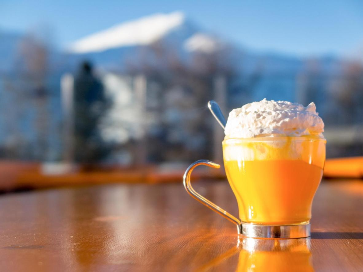 Hit the slopes and then hit the bar to warm up with a creamy Bombardino