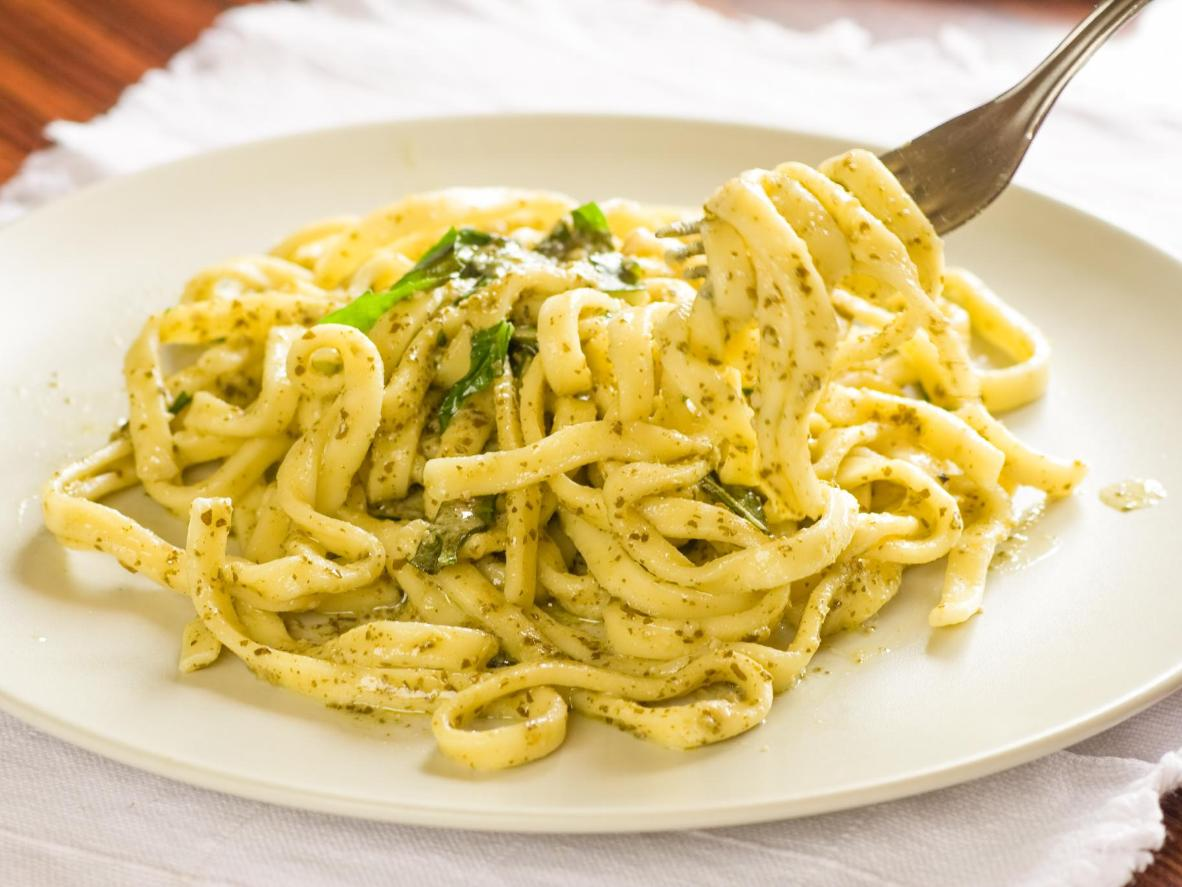 Trenette is the thick pasta that traditionally accompanies pesto