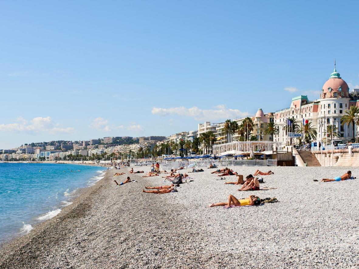 The beach along promenade des Angles is pebbly perfection