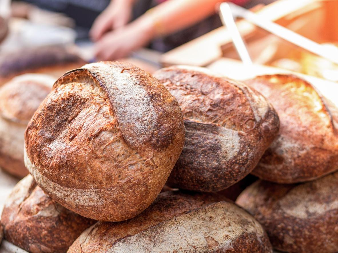 Try the crusty white and wholemeal sourdough loaves