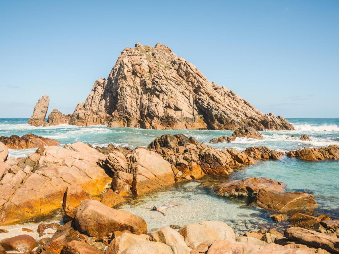 The pyramid-like Sugarloaf Rock is a highlight along the Cape to Cape track