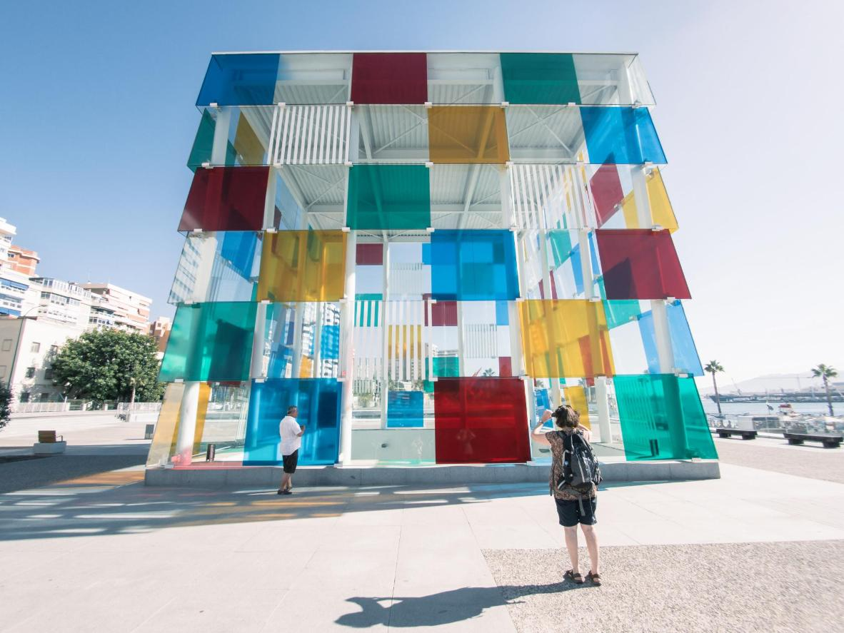 The Pompidou Centre is housed in a massive kaleidoscopic cube