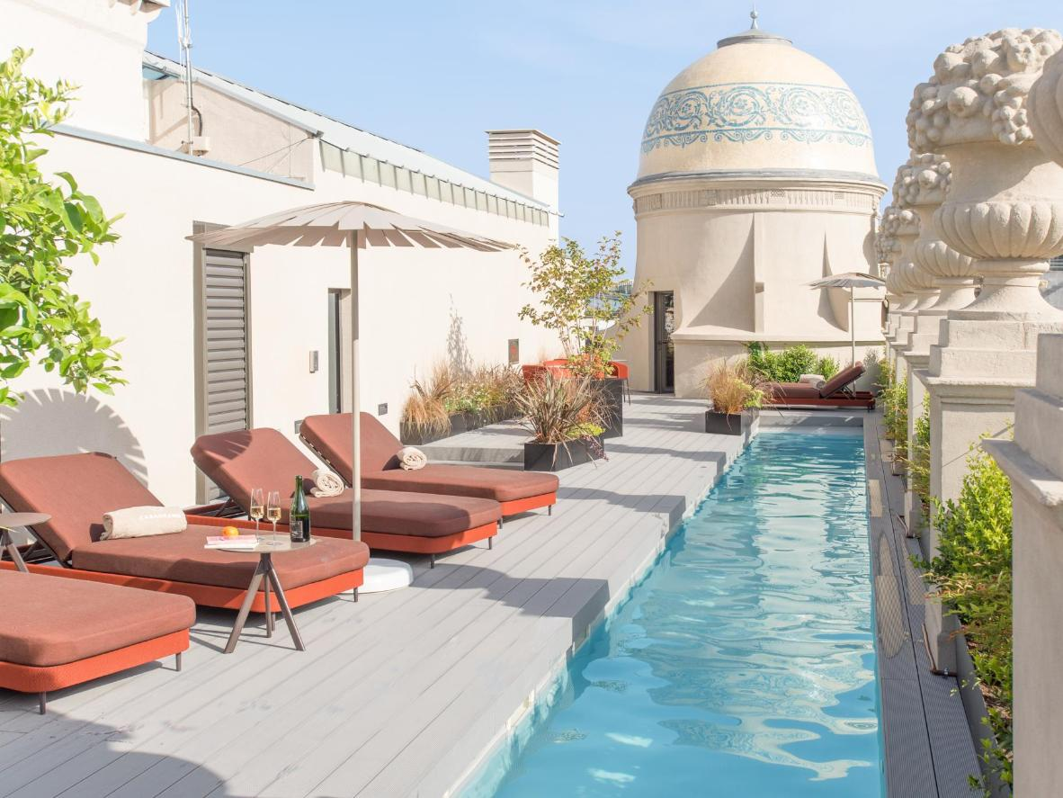 The pool is distinctive for its long, slender shape