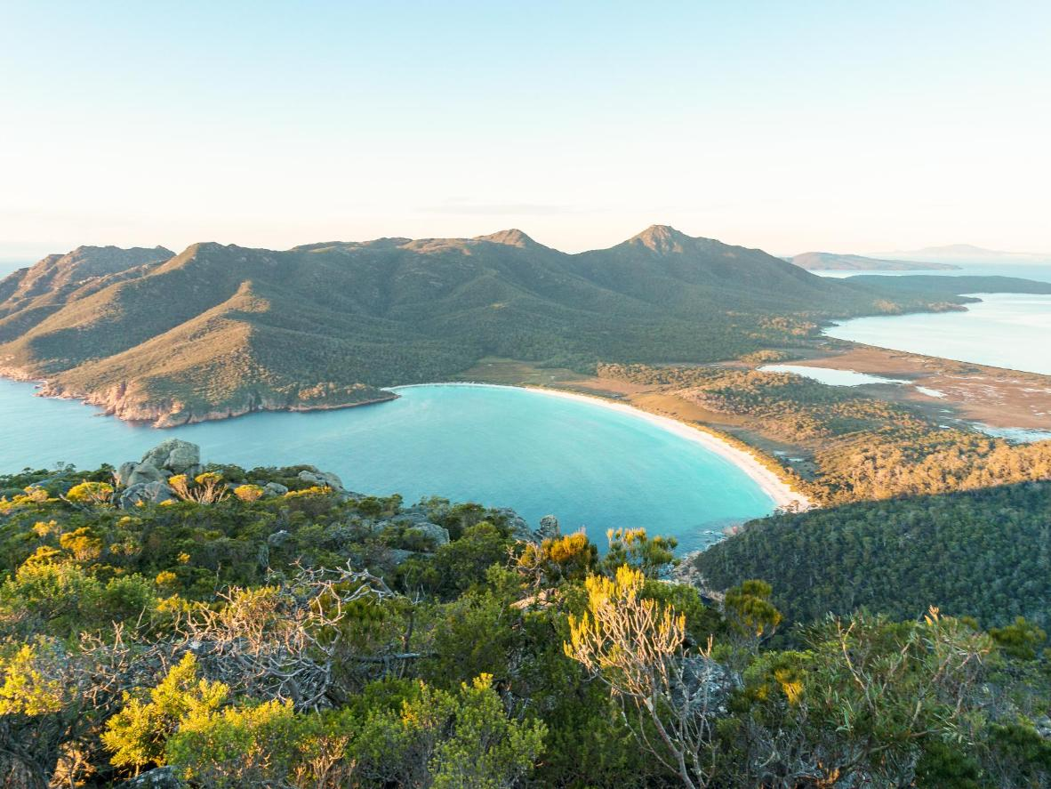 The captivating Wineglass Bay is framed by bushland thick with wattle, honeysuckle and Oyster Bay pine
