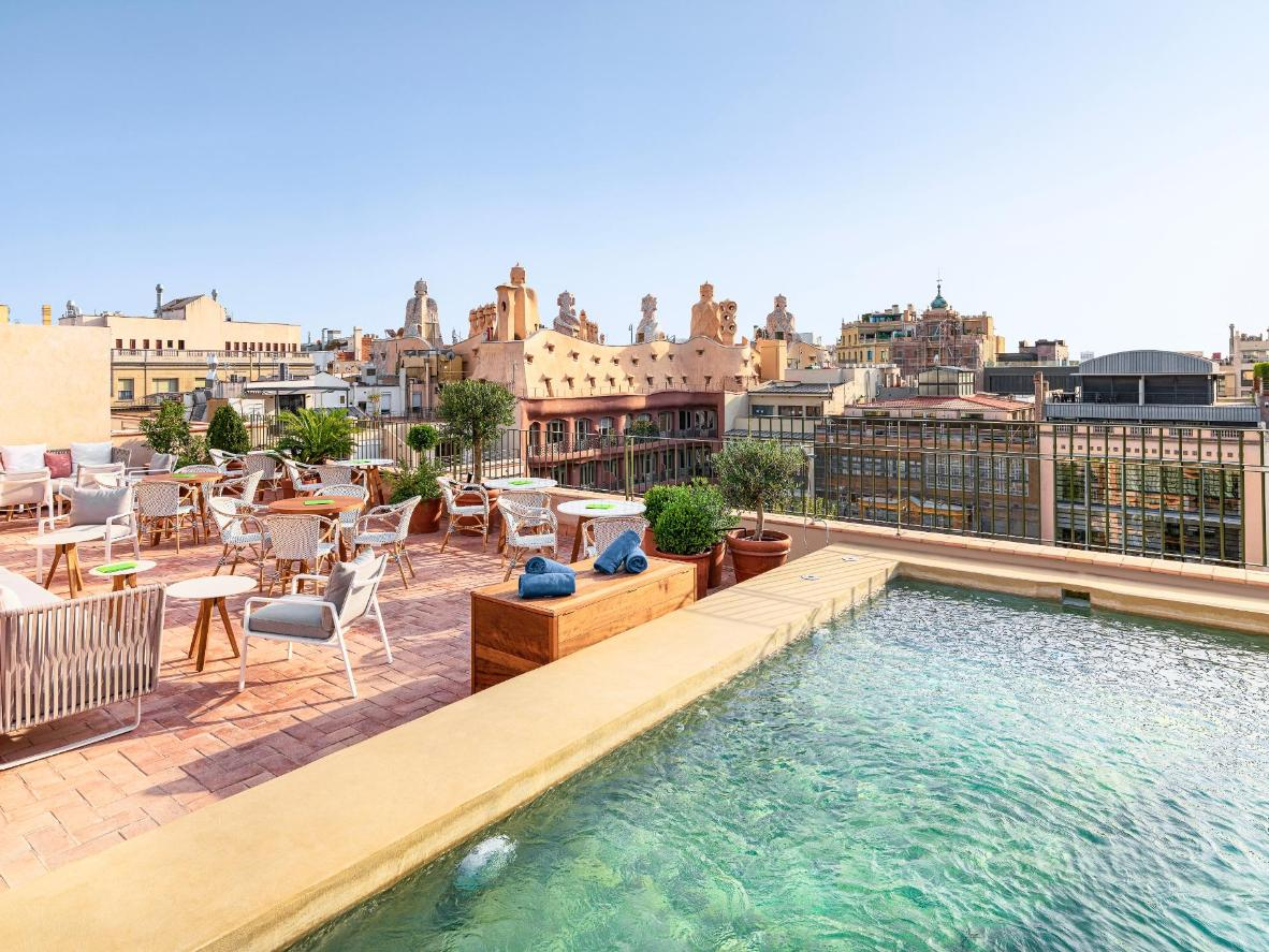 Enjoy views of Gaudí's Casa Mila from the rooftop terrace of H10 Casa Mimosa