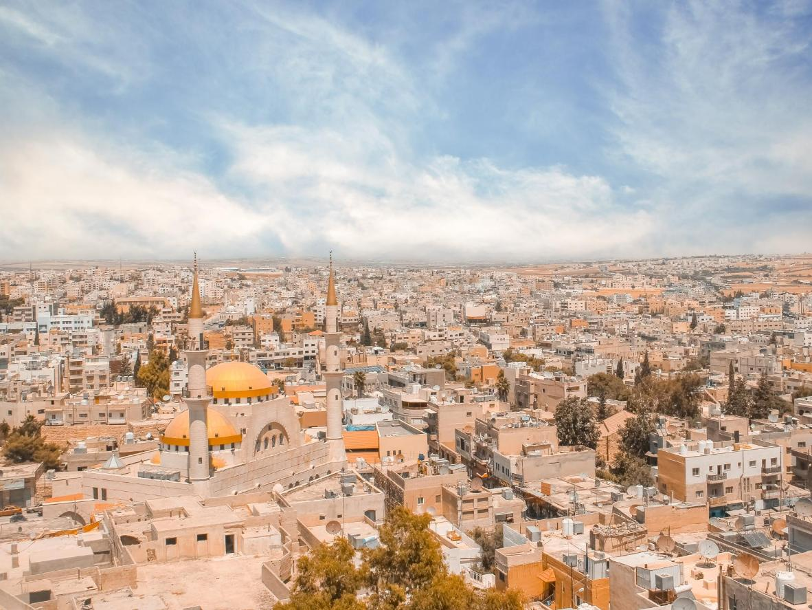 Get a shot of Madaba's cityscape and its towering Central Mosque