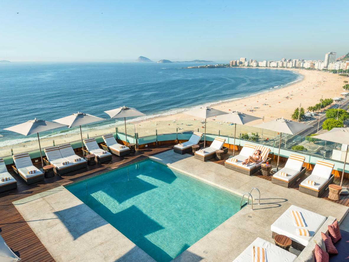 This minimalist pool stands 20 storeys high in one of Rio's most fashionable neighbourhoods