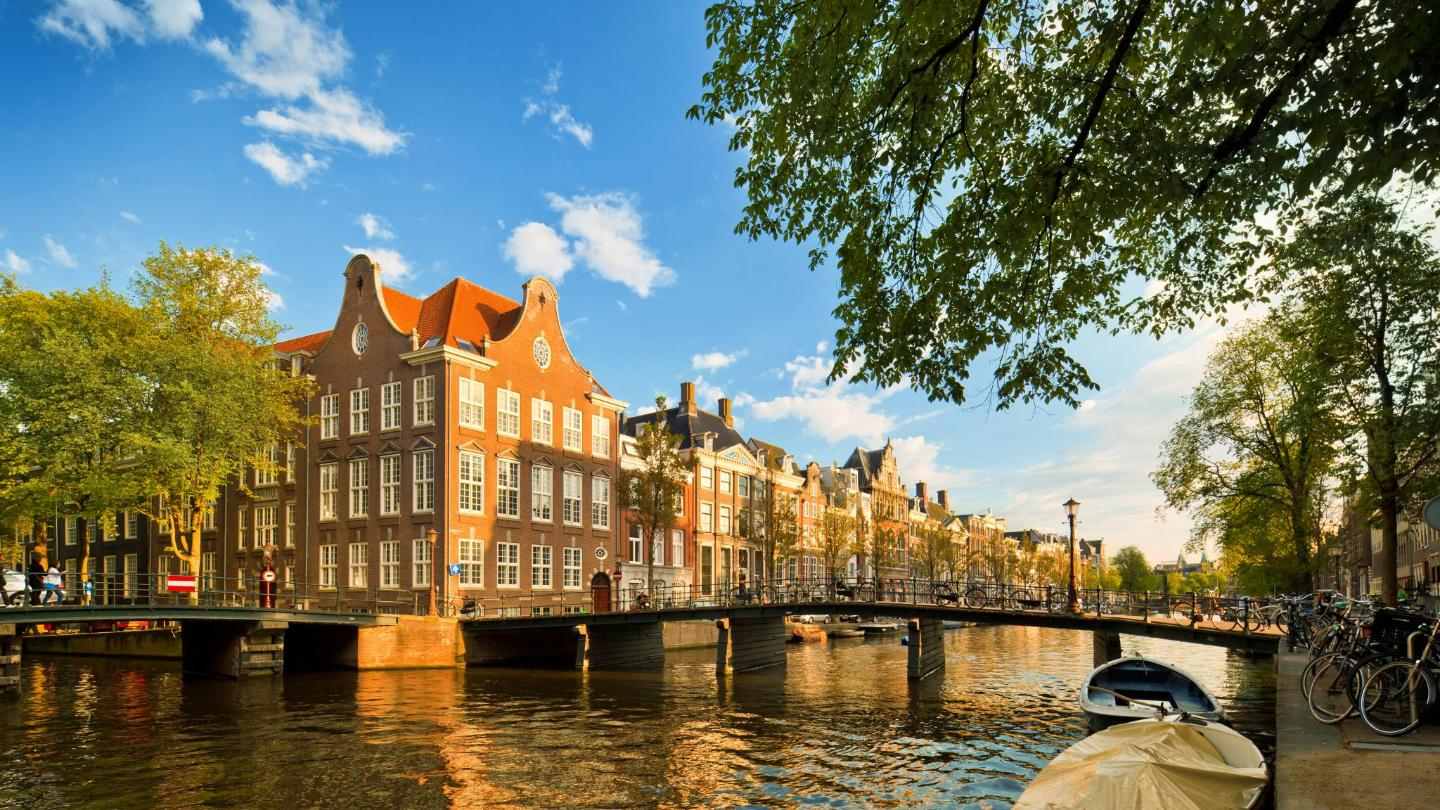 Stroll along Amsterdam's tree-lined canals in the spring