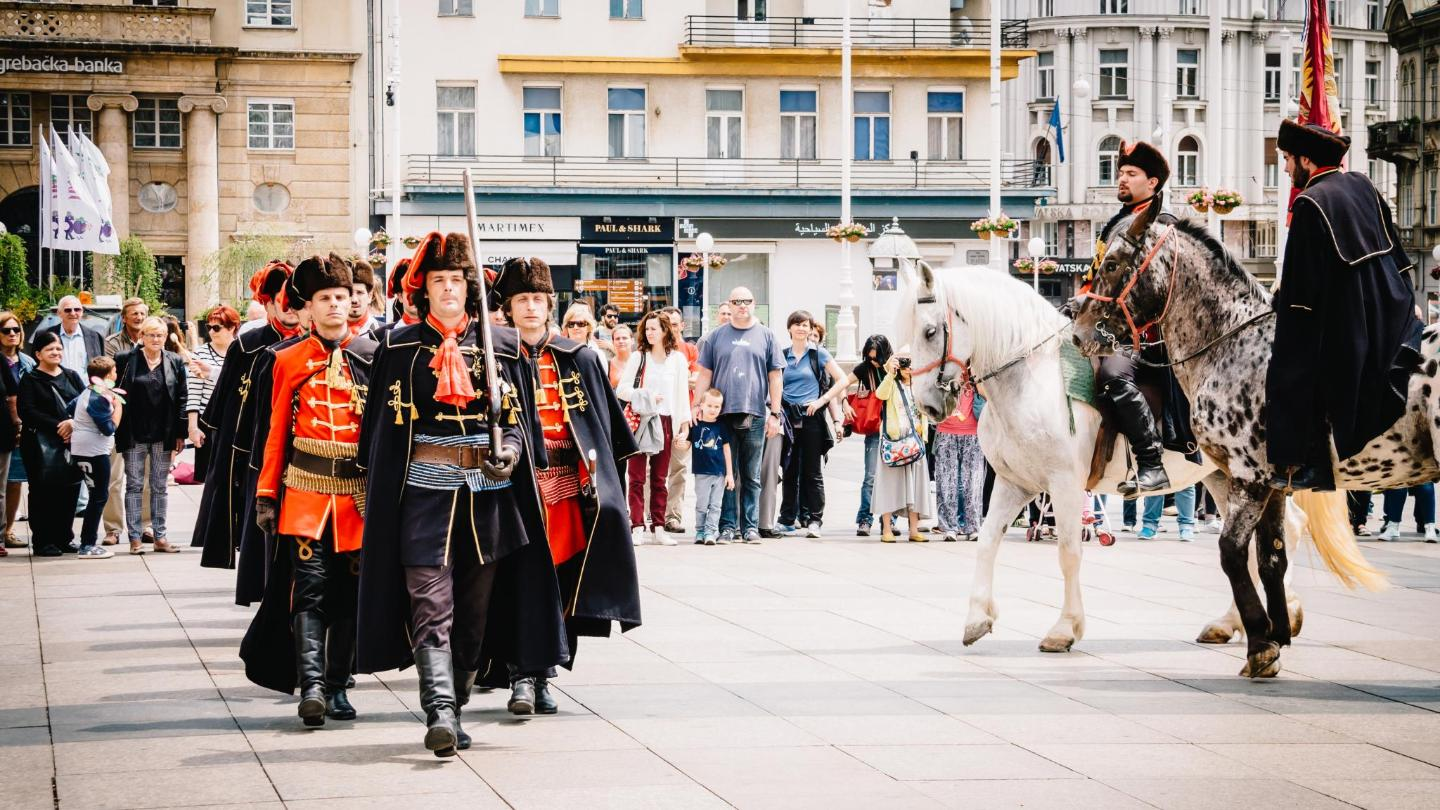 The changing of the guards ends at Trg bana Jelacica Square, the home of Venus