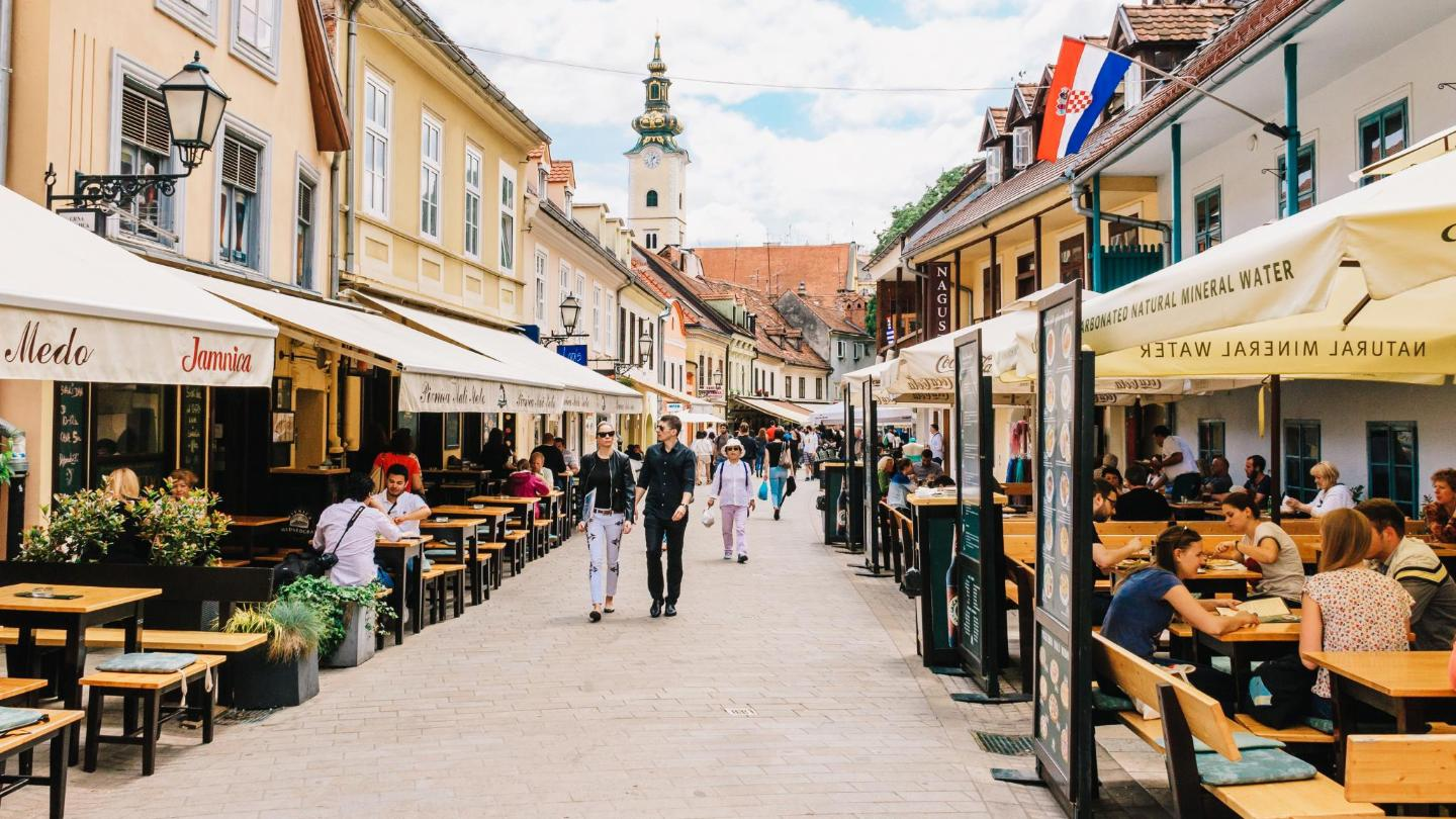 The many cafes and bars of Tkalčićeva Street make it a universe all its own