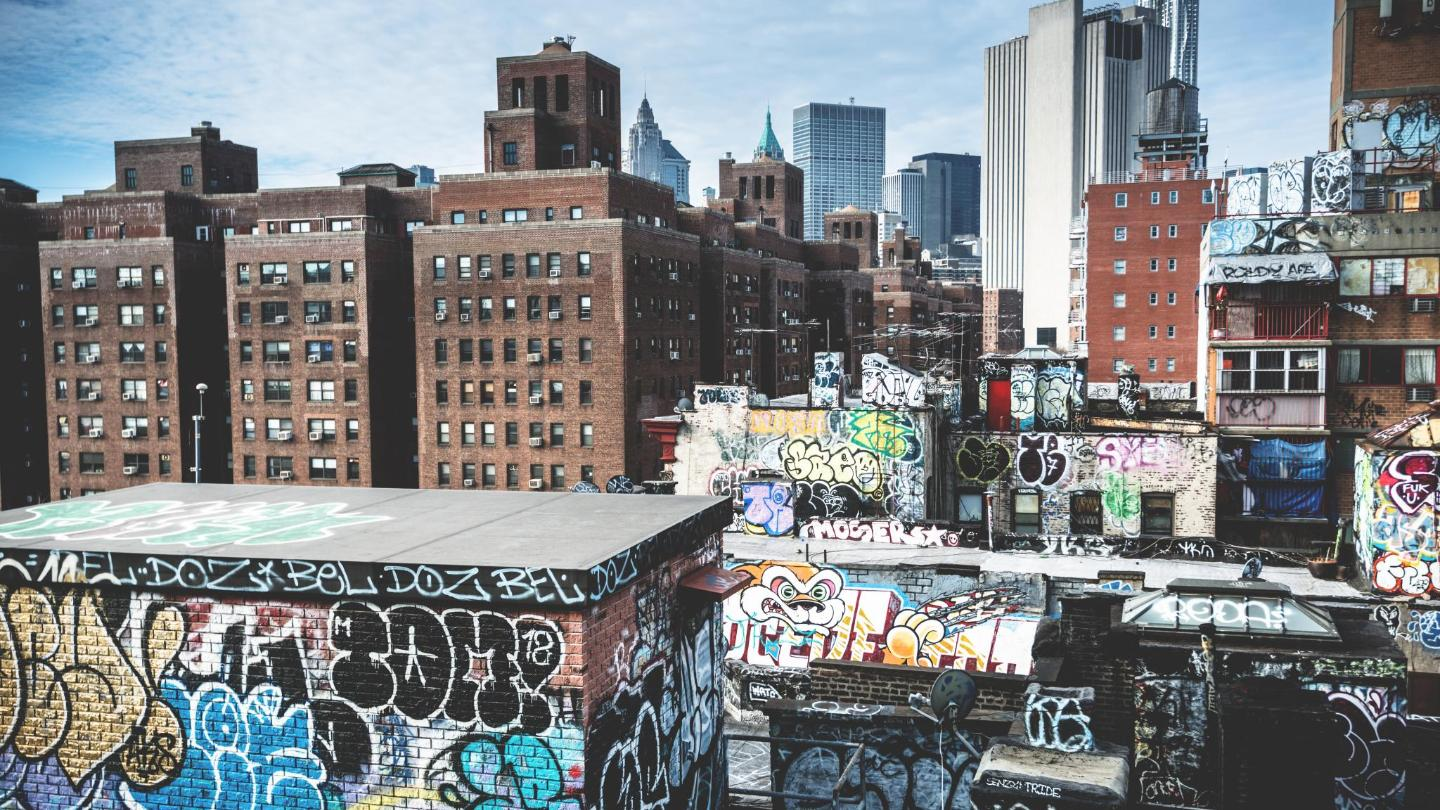 Chinatown in Manhattan, demonstrating the transition from graffiti to street art