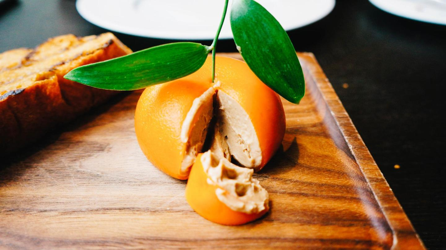 Heston Blumenthal's historically-inspired 'Meat Fruit'; a genius concoction of chicken liver parfait disguised as a mandarin