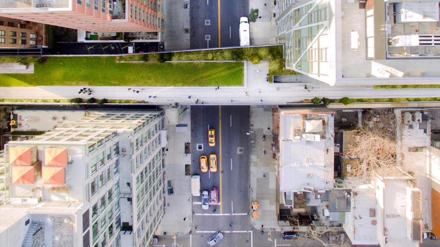 An aerial view of the High Line
