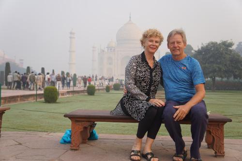 Manfred and Carol at Taj Mahal