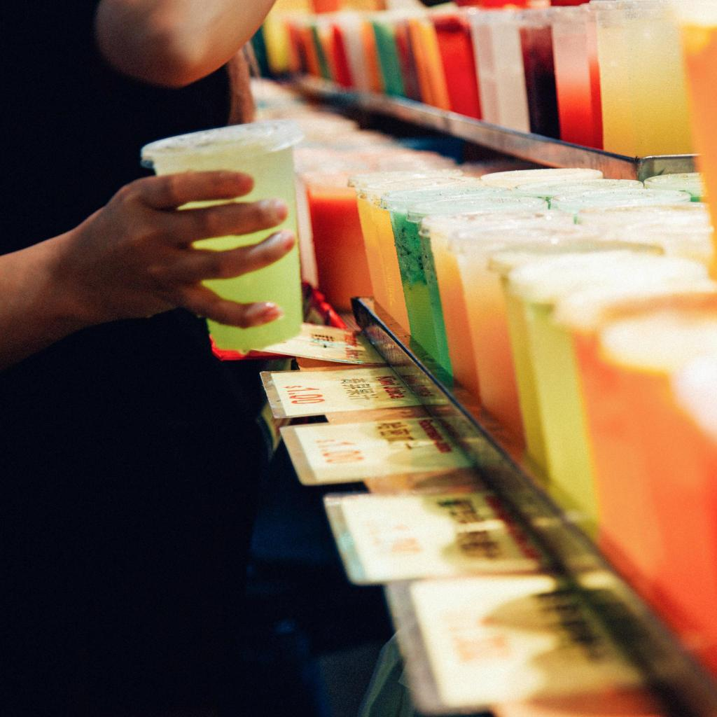 At hawker markets, freshly pressed juices come in all colours and flavours