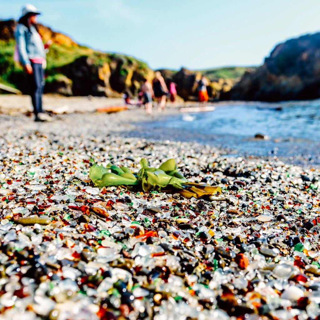 Sea-smoothed glass pebbles at Fort Bragg