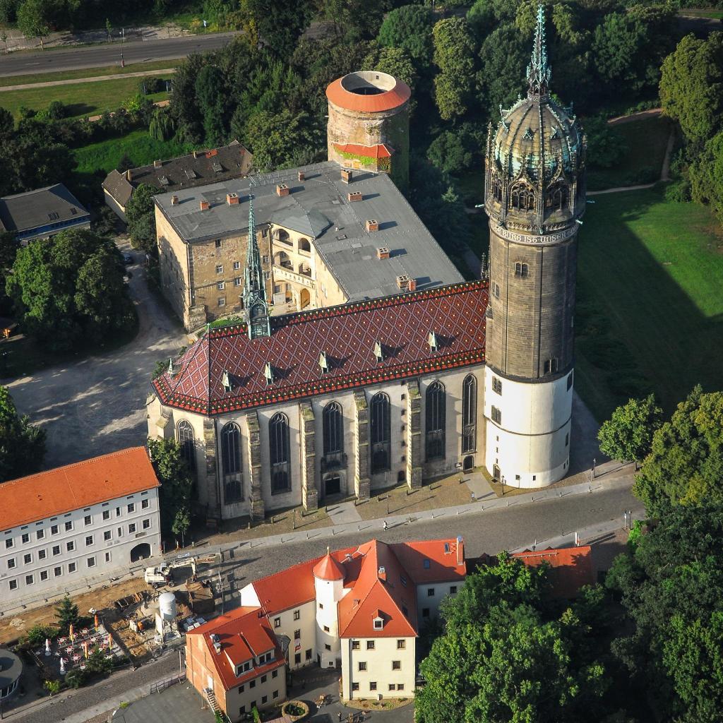 A bird's eye view of the Schlosskirche in Lutherstadt