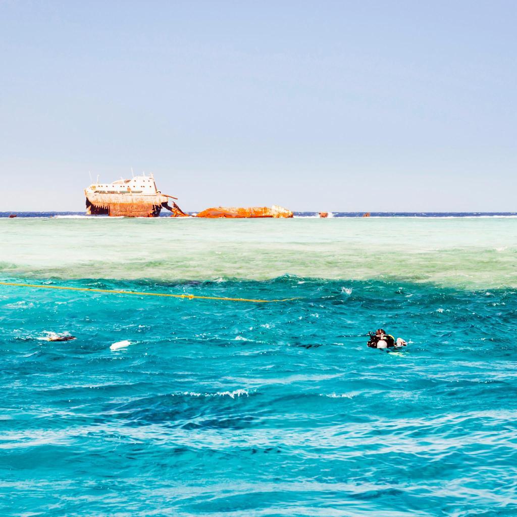 Gordon Reef is best known for its sunken Panamanian cargo ship