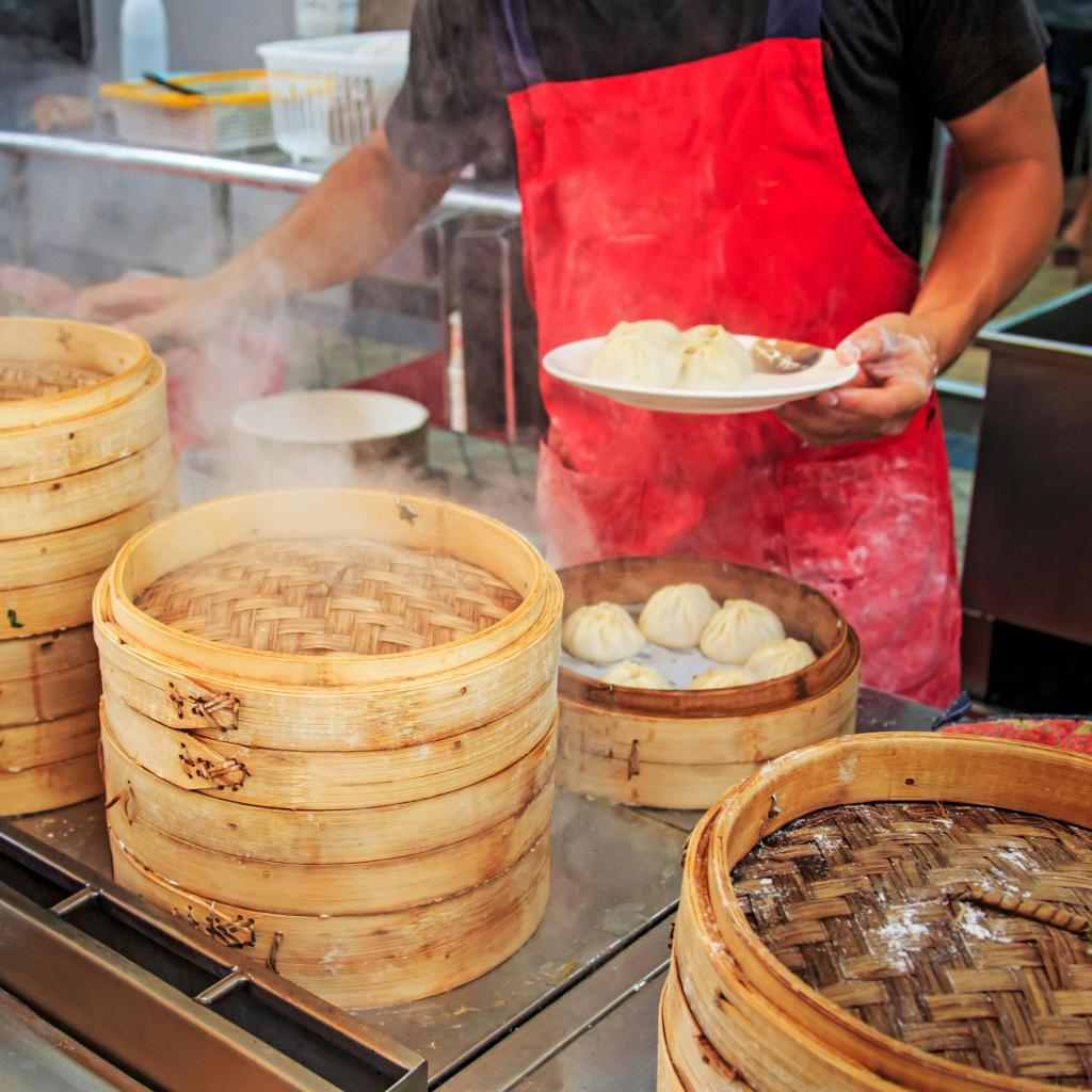 Watch vendors steam your dim sum in baskets as you wait, in Yunlin, Taiwan
