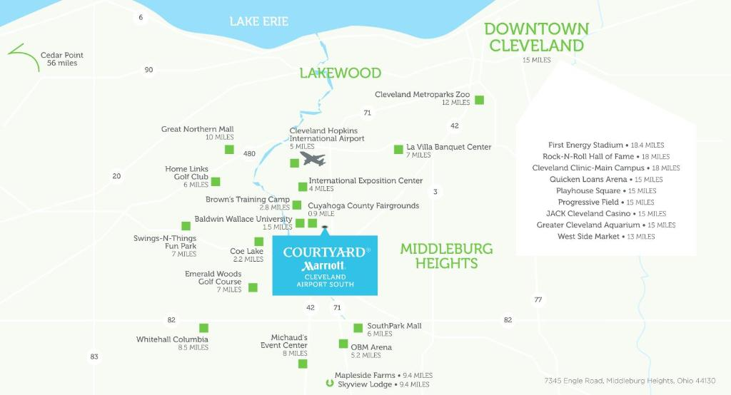 Cleveland Airport Map on